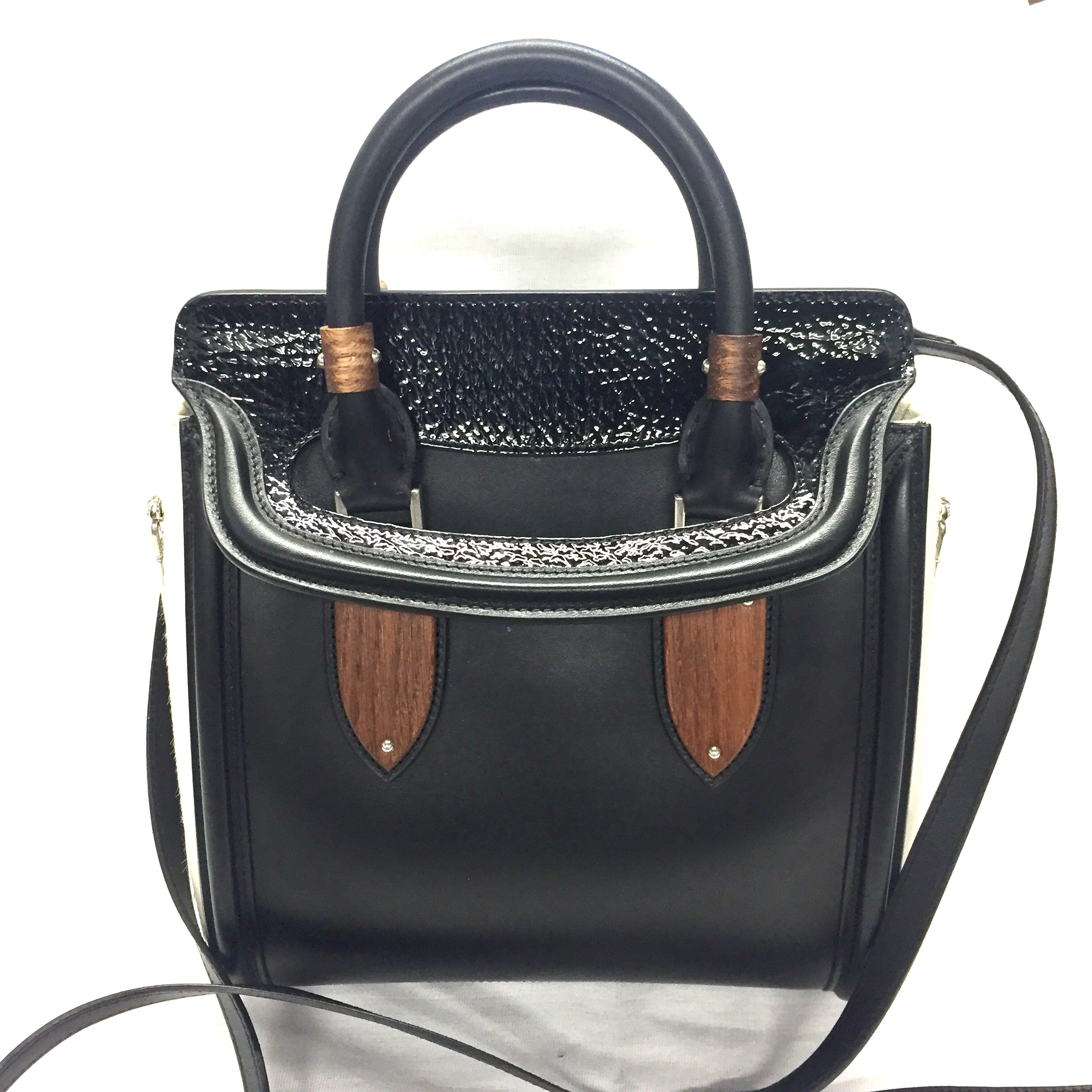 Alexander McQueen Heroine small bag with wood plates   pony hair new ... f9b8637996b09